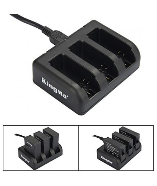 KINGMA  3-Slot Battery Charger for AHDBT-201 / AHDBT-301/ AHDBT-401 / GoPro Hero 3 / 3+ / 4 - Black